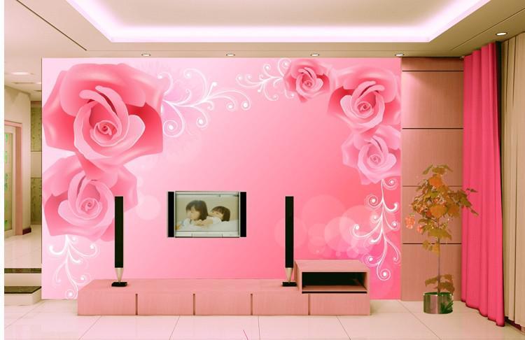 Wholesale Wallpapers - Buy Beautiful Roses Sitting Room of Bedroom ...