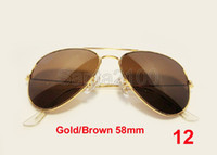 Wholesale 40pairs Brand Mens Womens Metal Classic Sunglasses Designer Glasses Gold Brown mm Lens
