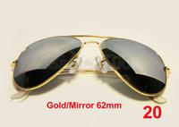 Wholesale 1pair Brand Mens Womens Large Metal Sunglasses Designer Glasses Gold Mirror mm Lens