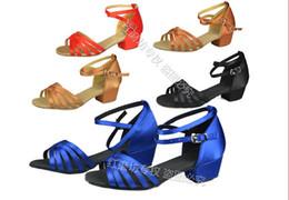 Wholesale Factory Children s Latin dance shoes female girl s Latin shoes square Dance shoes lady s social hot Satin multicolor Heel cm