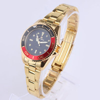 Wholesale Luxury Brand Ladies Women Black Dial Black Red Rim Stainless Lady Quartz Golden Watch N7462 STL