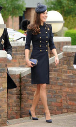 Wholesale Woolen double breast Princess coat kate middleton coat color blue white trench coat