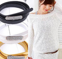 Wholesale New Women Fashion Slender band Belt Casual Faux leahter Hot Sale Diamond head Shiny