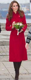 Woolen winter princess long coat design kate middleton women fashion trench coat
