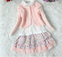 Wholesale Korea children dress Western style girl kids suit Girl s Dresses shirts coat printing skirts