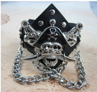 African Unisex Party Lady Men Bracelet Pirates Caribbean Cowhide Leather Hot Sale Low Price 6PCS Lot Free Shipping SL1015