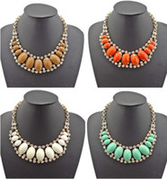 Wholesale Fashion colors mix Chunky Golden Rhinestone Facets Resin Ellipse Choker Bib Necklace for women s