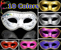 Wholesale Half face Gold Powder flower around party masks colors painting halloween masquerade mask