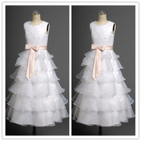 girl first communion dress - 2015 Real Photos Ruffled Flower Girl Dresses Jewel Neck Cap Sleeves Tiered Organza Girls Princess Dresses with Ribbon First Communion Dress