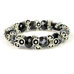 semi precious stone black beads with metal flowers bracelet,BR-1370