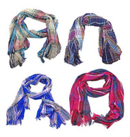 Wholesale New Coming Fashion Cotton Strip Pane Design Shawl Wrap Scarf Corrugated Square scarf colors mix