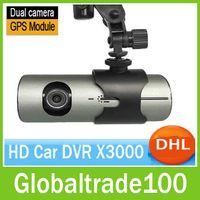 Wholesale Car DVR X3000 GPS Dash Dual Cameras Lens Full HD P D G Sensor quot Blackbox Degree Wide Angle Free DHL