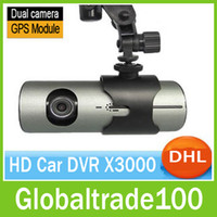Wholesale Car DVR X3000 GPS Dual Camera Lens Full HD P D G Sensor quot Blackbox Degree Wide Angle DHL