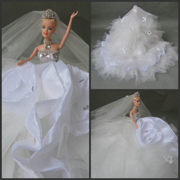 Wholesale Best Selling Net Ball Gwn Bridal Dresses Barbie Dolls Ruffled Sexy Wedding Dress Cute DOlls