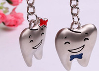 Car Key Chains   Dental Orthodontic Personalized Decorative Mini Couple Tooth Key Chain Free Shipping