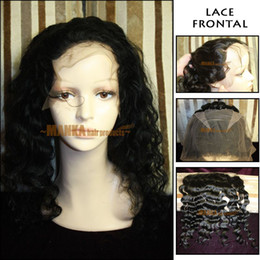 Wholesale 12 quot quot Lace Frontal Deep Wave indian remy human hair ear to ear Color jet black