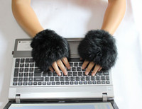 Wholesale Hot sale Winter Soft hand knitting rabbit fur Fingerless Half Cuff Gloves elastic
