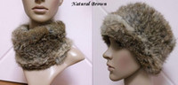 Wholesale Knit rabbit fur neck warmer hair band head band scarf hat brown black grey