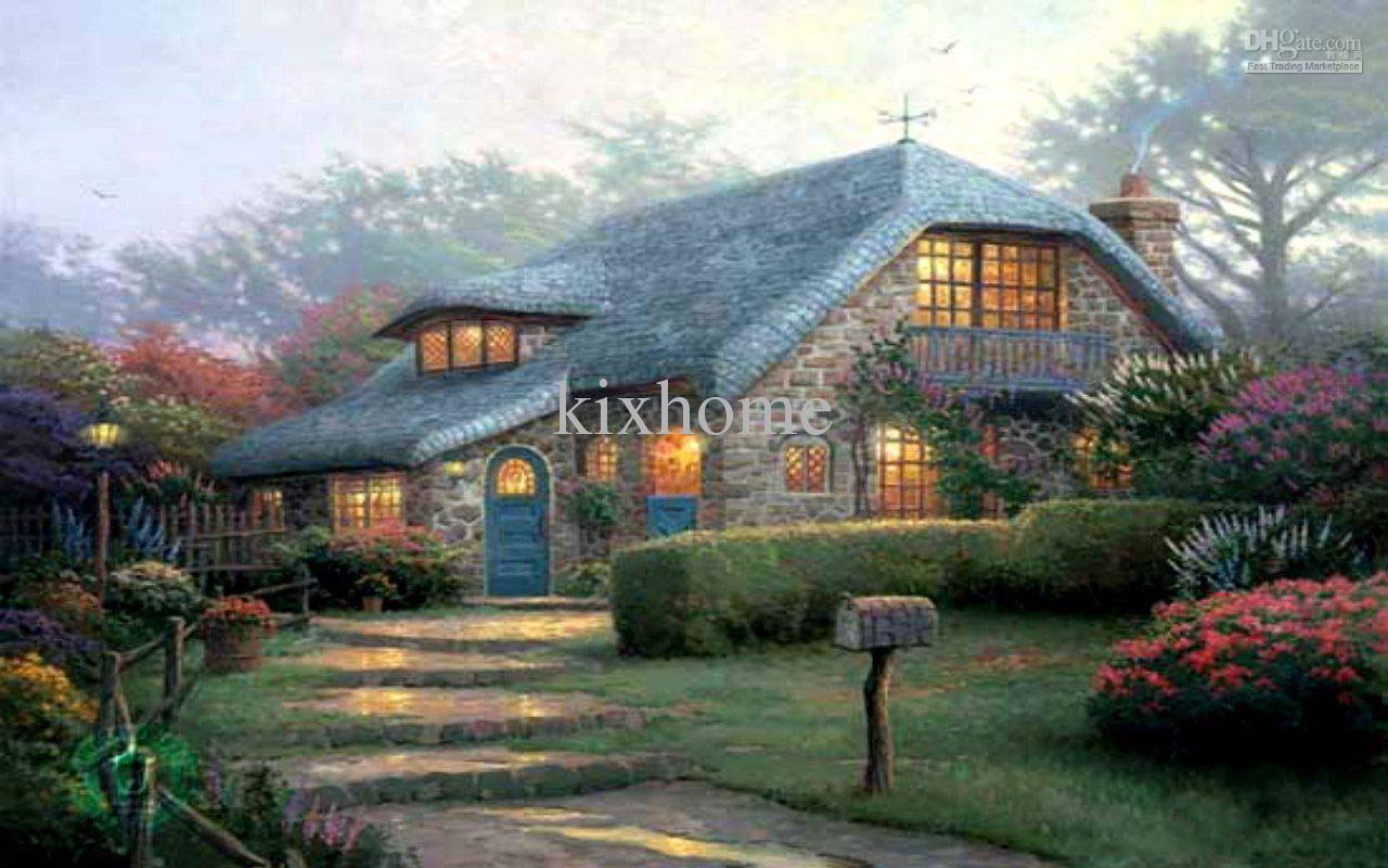 2017 oil painting landscape home art lilac cottage by for Oil paintings for the home