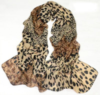 Wholesale Korean Style New Woman Scarf Europe Leopard Scarf Velvet Chiffon Scarf colors mix