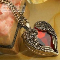 China-Tibet ruby diamond necklace - Vintage Red Diamond Peach Heart Wings Long Necklaces With Ruby Chain Sweater Necklace