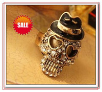 Wholesale Fashion Skull Ring Vintage Punk Bohemian Diamond Skull Rings Crystal Skulls Rings Best gifts