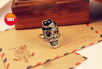 Wholesale Skull Ring Vintage Punk Bohemian Diamond Skull Rings Crystal Skulls Rings Best gifts Fast Shipping