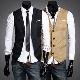 Wholesale 2012 New Hot Sale Black Khaki Lapel Men s Suit Vests Contrast Color Pocket Fashion Vest Drop Ship