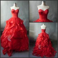 Wholesale Red Wedding Dress Sweetheart Corset Organza Court Train Natural Waist Appliques Flowers Quinceanera Prom Dress A Line Wedding Dresses