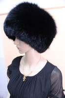 Wholesale Top quality genuine fox fur hat hats cap caps black color white color one size