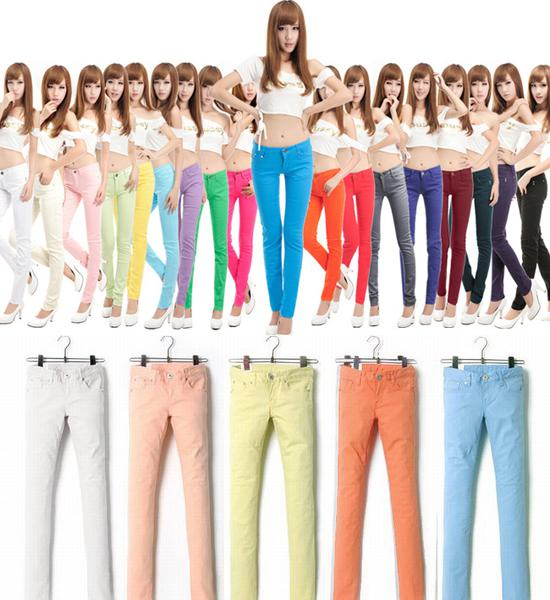 Womens&39 Stretchy Casual Jeans Skinny Skinny Tight Candy Color