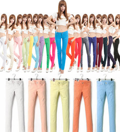 Wholesale Womens Stretchy Casual Jeans Skinny Skinny Tight Candy Color Jeans Size Colors Casual Trousers