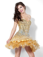Ball Gown Fashion Sweetheart Mini Alencon lace Gold Beading ...