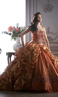 Ball Gown Brown Sweetheart Floor length Beading Fold Appliqu...