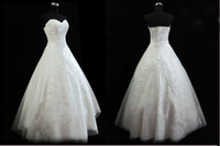 White Beading Applique Fold Organza Bridal gowns Wedding dre...