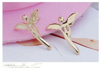 Wholesale Lucky Angel Stud Earrings Angel Shape Earrings Fashion Alloy Earrings pairs