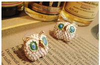 Wholesale Enamel Owl Stud Earrings Cute Earrings pairs