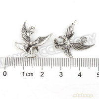 Wholesale 90pcs Hot Sale Flying Eagle Charms Antique Silver Plated Alloy Pendants Fit Necklace