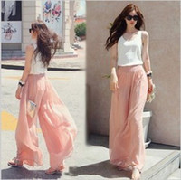 Wholesale Fashion Autumn Summer Women Casual Chiffon Long Wide Leg Loose Pants Beach Trousers Pink
