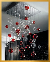 modern lighting pendant - Red Clear Glass Bubbles Ball Chandelier Light Pendant Lamp Fixture Modern Glass Ball Pendant Lamp Glass Ball Ceiling Light Living Room Lam