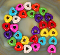 Wholesale DIY Charm Turquoise Carved Colorful Heart Howlite Beads Jewelry Finding