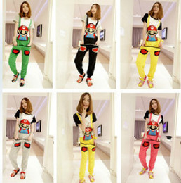 Wholesale New Women s Fashion Nice Super Mario Overalls Trousers Candy Color Leisure Korean Style