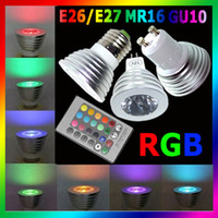 Wholesale MR16 GU10 E26 E27 W Remote Control Color Change RGB LED Spot Light Lamp Bulb Spotlight Retail