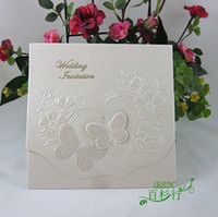 Wholesale Unique D Butterfly Floral Wedding Invitaions Embossed Invitaion Cards Wedding Favors