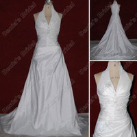 Wholesale 2012 A Line High V Neck Wedding Dress Ruched Beaded Chapel Train Taffeta Real Actual Images DB23