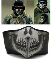 Wholesale 10pcs Polartec Navy Seal SWAT Skull Half Face Mask Skeleton Cloth Flexible Motorcycle Horror Mask