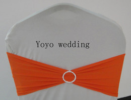 Orange Spandex Bands With Round Rhinestone Lycra Chair Bow With Diamond Buckle 100PCS A Lot Free Shipping