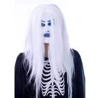 Wholesale Halloween Styles Party Props Horror White Hair Bleed Female Masks Latex Mask