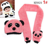 Winter baby girl modeling - 10 Set Baby Panda Hat Scarf Two Piece Set Children Panda Modeling Caps Kids Clothes Accessories