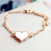 Wholesale R4105 Bracelet Rope Gold Color Lovely Heart Cute Charm Four Leaf Clover